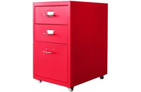 METAL DRAWER WITH 3 DRAWERS AND WHEELS RED